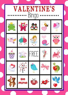 Free Printable Valentine's Day Bingo game for you to print and play.