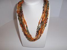 Autumn Lace Necklace Crochet Ladder Lace Necklace Trellis Ribbon Lace Fiber Yarn by DelsYarnBasket on Etsy