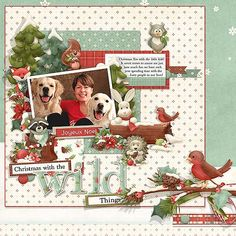 A digital scrapbooking Christmas layout idea in an outdoor wood land theme. Celebrate with Mother Nature! Nitwit Thicket Christmas Collection from Nitwit Collections #digitalscrapbooking