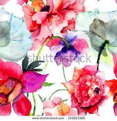 Seamless pattern with Beautiful Peony flowers, Watercolor painting  - stock photo
