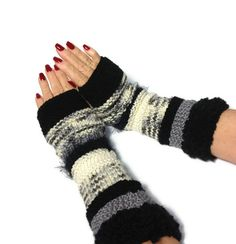 Black And White Fingerless Gloves by ArlenesBoutique on Etsy, $45.00