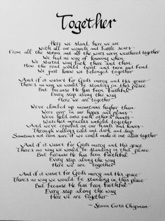 Hello, This is a beautiful song/poem by Steven Curtis Chapman! This is hand lettered using high quality black gouache on 11 x 14 acid free heavy watercolor paper. This is an original, not a print. Real Love Quotes, Soulmate Love Quotes, Love Husband Quotes, Romantic Love Quotes, Love Quotes For Him, Happy Anniversary To My Husband, Wedding Vows To Husband, Wedding Vows That Make You Cry, Anniversary Letter To Boyfriend