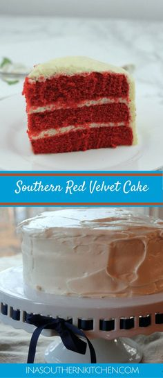 Southern Red Velvet Cake is a super moist cake with cream cheese frosting. This … Southern Red Velvet Cake is a super moist cake with cream cheese frosting. This classic recipe will be an instant family favorite! via Southern Food And Fun Moistest Red Velvet Cake Recipe, Homemade Red Velvet Cake, Homemade Cakes, Southern Red Velvet Cake, Coffee And Walnut Cake, Cake With Cream Cheese, Cream Cheeses, Berry Cake, Chocolate Chip Recipes