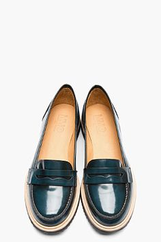 MM6 MAISON MARTIN MARGIELA Teal Waxed Leather Loafers