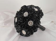 Black Wedding Bouquet, Black Bridal Bouquet, Fabric Bouquet, Black Bouquet, Quinceanera Bouquet, Black Satin Bouquet, Alternative Bouquet  Let us create a bouquet for you t...