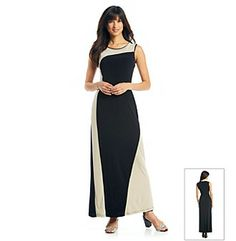 Dresses. Wrap yourself in refinement when you step into this sleek gown from Calvin Klein. The simple, slim cut of this stretchy jersey knit is accented by polished colorblocked print. Featured in black/khaki Scoopneck Sleeveless Hidden back zip Vertical colorblocking Unlined Floor length Rayon/spandex Imported