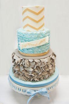 Elephants + Hot Air Balloon Baby Shower cake