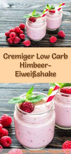 Himbeer-Eiweißshake selber machen - ein gesundes Low-Carb-Diät-Rezept für Frühstücks-Smoothies und Proteinshakes zum Abnehmen - ohne Zusatz von Zucker, kalorienarm, gesund ...