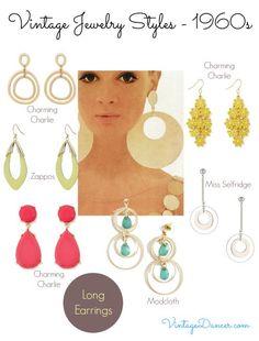 1960s jewelry styles: long earrings