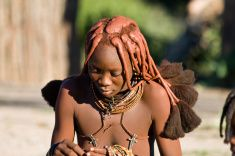 Portrait of a Himba woman. stock photo