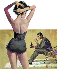 """Robert McGinnis; Artist This painting appeared on the paperbacks by Raymond Banks titled """"The Computer Kill"""" and Gil Brewer's """"Play It Hard""""."""
