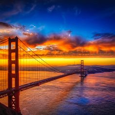 Sunset over Golden Gate Bridge, San Francisco, California - Part of this weeks Top 5 Sunset Photos on Pinterest for #TravelPinspiration click here for more: http://www.ytravelblog.com/travel-pinspiration-top-5-sunset-photos-on-pinterest/