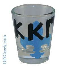 KKG Kappa Kappa Gamma Shot Glass.  Used the Stencils and Paint from DIYGreek.com to make this really cute gift.