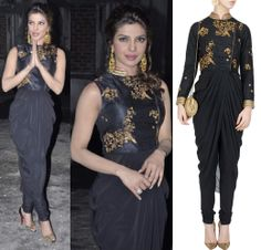GET THIS LOOK: Chi looks stunning in this black drape with zardozi motifs by TISHA SAKSENA. Indian Bridal Outfits, Indian Designer Outfits, Indian Dresses, Designer Dresses, Red Lehenga, Lehenga Choli, Anarkali, Sari, Indian Attire
