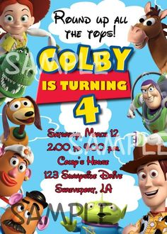Toy Story birthday party invitation Poster Toy Story : https://www.etsy.com/listing/177738144/kids-birthday-movie-posters-personalized