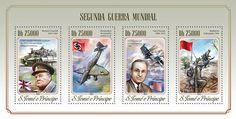 Post stamp São Tomé and Príncipe ST 14520 aWorld War II (Winston Churchill (1874-1965), dive bomber Junkers Ju 87, Harry Truman (1884-1972), Battle of Stalingrad, 1942)