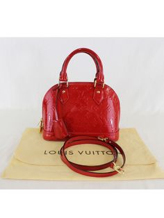 e4d90d28cf24 Authentic Louis Vuitton Alma BB Cherry Vernis Leather 2Way Handbag   LouisVuitton  MessengerCrossBody Louis Vuitton