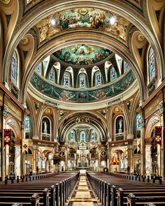 The interior of the national shrine and basilica of Our Lady of Victory in Lackawanna, New York.