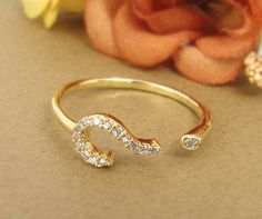 Women's Gold Ring Jewelry Gold Question Mark Crystal Wrap Ring Size Free Adjustable
