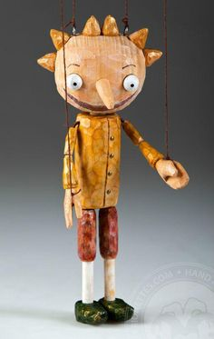 Pepino - Hand Carved Maironette Puppet (wooden toy hand made in Czech Republic)