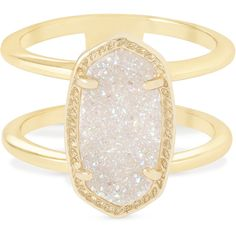 Kendra Scott Elyse Ring in Gold (€58) ❤ liked on Polyvore featuring jewelry, rings, 14k gold jewelry, drusy ring, gold jewelry, 14k ring and thin gold ring