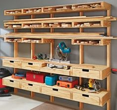 Wood storage ideas garage lumber storage ideas fabulous best images about garage shop ideas on of . Workshop Storage, Workshop Organization, Garage Organization, Garage Storage, Wood Workshop, Workshop Ideas, Storage Drawers, Workshop Cabinets, Workshop Layout