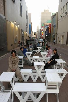 """Public space """"Sapporo Shower Street -Japan Anonymous Garden-"""" by SCU Yamada Studio . Love the idea of having a pop-up restaurant or simple café in any less traveled alley location! Assuming it is a clean alleyway, it always feels special. Public Space Design, Public Spaces, Public Art, Urban Interior Design, Urban Design, Urban Furniture, Street Furniture, Simple Cafe, Interactive Installation"""