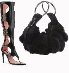 DVF Stephanie Fur Evening.  NYLA Gladiator boots.