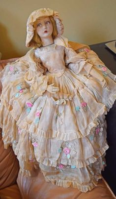Antique Lenci Boudoir Bed Doll Lillian Gish