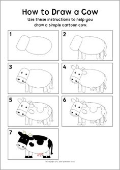 Schepping dag 6 dieren tekenen // Day How to draw a cow instruction sheet - SparkleBox Drawing Projects, Drawing Lessons, Art Projects, Bird Drawings, Easy Drawings, Animal Drawings, Drawing For Kids, Art For Kids, Cow Drawing