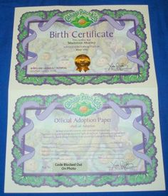 cabbage patch kids birth certificate