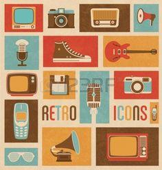 Retro Icoon Mix Stock Photo
