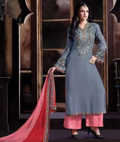 Buy Gray Georgette Palazzo Style Suit 71217 online at lowest price from huge collection of salwar kameez at Indianclothstore.com.