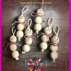 Wood Bead Snowman Ornaments – Creating Me crafts for kids for teens to make ideas crafts crafts Christmas Decor Diy Cheap, Christmas Ornament Crafts, Snowman Crafts, Snowman Ornaments, Christmas Projects, Handmade Christmas, Holiday Crafts, Christmas Crafts, Christmas Decorations