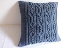 Cable knit decorative steel blue pillow, blue gray throw pillow, hand knit pillow case, hand knit cushion cover, couch pillow by Adorablewares on Etsy