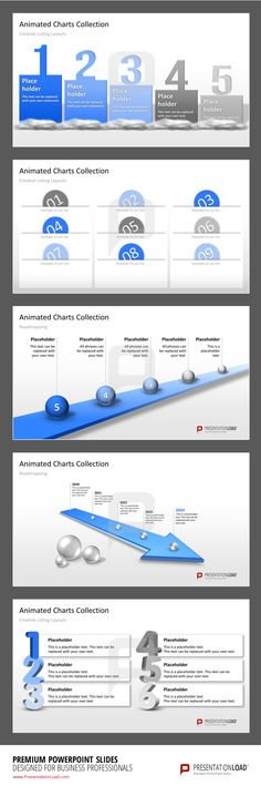 Animated PowerPoint Templates The Animated Charts Collection for PowerPoint contains animated objects for Creative Listing Layouts in different customizable designs. #presentationload  http://www.presentationload.com/animated-charts-collection.html