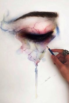 I love this eye painting... with how the watercolor blends it looks almost like veins.
