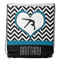 Gymnastics Chevron Heart Personalized Backpack