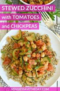 Stewed Zucchini with Tomatoes and Chickpeas - Veggies Save The Day Easy Vegan Dinner, Vegan Dinner Recipes, Vegan Dinners, Whole Food Recipes, Vegetarian Recipes, Cooking Recipes, Healthy Recipes, Vegan Casserole, Zucchini Casserole