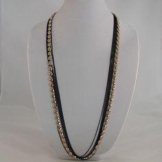 Gold-tone and Black Multi Chain Necklace