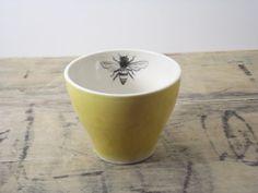 One Porcelain Yellow Bee Tea Cup by FaithAdamsCeramics on Etsy, $16.00
