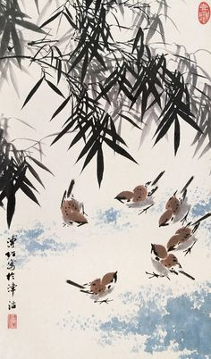 Chinese painting Japanese Ink Painting, Sumi E Painting, Japanese Watercolor, Japan Painting, Watercolor Art, Chinese Painting Flowers, Art Chinois, Japanese Drawings, Bamboo Art