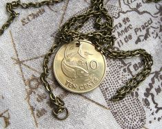 Coin Jewelry~Irish Silver Harp//Salmon key ring//necklace