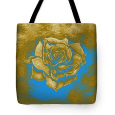 Rose Tote Bag featuring the painting Gold Rose by Faye Anastasopoulou