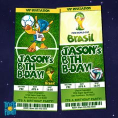 WORLD CUP Birthday Invitation Card  World Cup by TicketsPlanet, $10.00