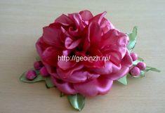 заколка розовый пион