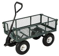Amazon.com: Farm & Ranch FR110-2 Steel Utility Cart with Removable Folding Sides and 10-Inch Pneumatic Tires, 400-Pound Capacity, 34-Inches by 18-Inches, Green Finish: Patio, Lawn & Garden
