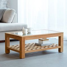 Teak coffee table 100 x 60 cm - Living room furniture tables for sectionals cozy living rooms Centre Table Living Room, Table Decor Living Room, Living Room Furniture, Home Furniture, Living Rooms, Centre Table Design, Tea Table Design, Wood Table Design, Sectional Coffee Table