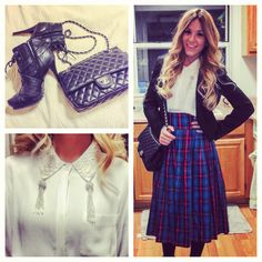 Vintage plaid midi skirt with tassled white collar shirt topped with a black blazer. Perfect! The details to the left.