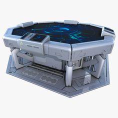 model: model of Sci-fi command table. PBR - VR and Game ready. Armes Futures, Sci Fi Games, Spaceship Interior, Sci Fi Environment, Robot Concept Art, Futuristic Technology, Cyberpunk 2077, Futuristic Architecture, Sci Fi Fantasy